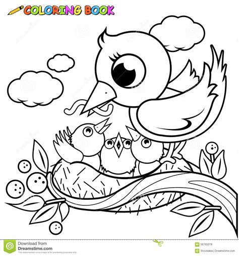 cute birds   nest coloring book page stock vector illustration  outline cute
