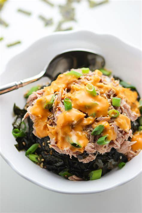 tuna rice bowl spice  plate