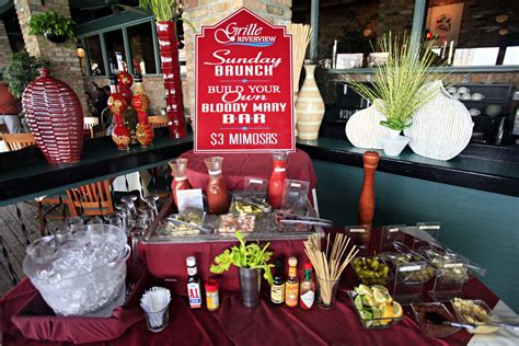 bloody mary bar own build sunday restaurant brunch guests entertainment grille list riverview