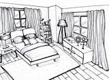 Perspective Bedroom Drawing Point Living Getdrawings sketch template