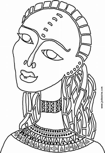 African Coloring Pages Woman American Printable Africa