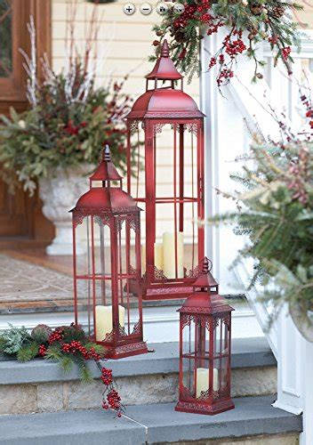 set   extra tall red candle lanterns