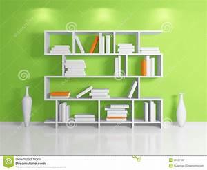 Modern bookshelf. stock illustration. Image of clay ...