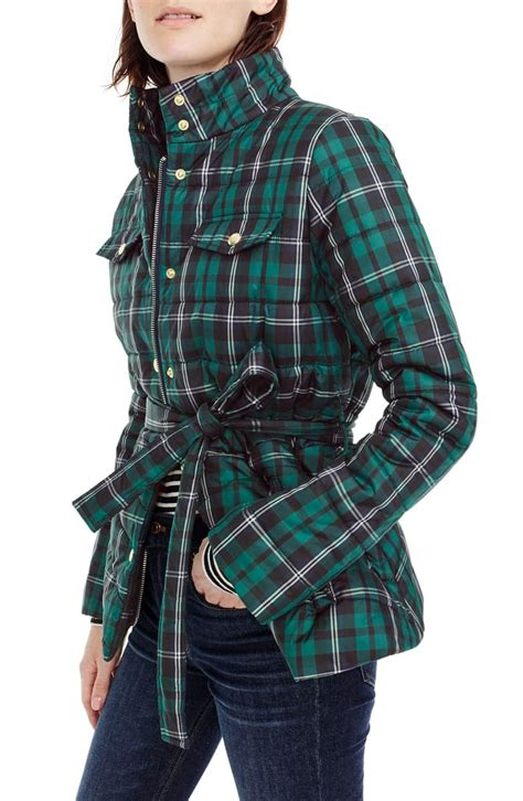 Join j.crew rewards and get a $5 reward for every $100 spent (aka 200 points earned twice as fast!)** free shipping and handling valid on purchases made using a j.crew credit card at jcrew.com and jcrewfactory.com. J.Crew Plaid Belted Puffer Jacket | Nordstrom