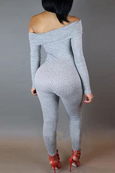 Boat Neck One Piece by Simple Boat Neck Long Sleeve Grey Knitting One Piece