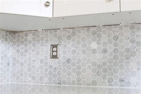 install  marble hexagon tile backsplash kitchen