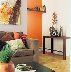 associer la peinture orange dans salon cuisine et chambre With delightful couleur de peinture de salon 8 decoration salon orange et marron