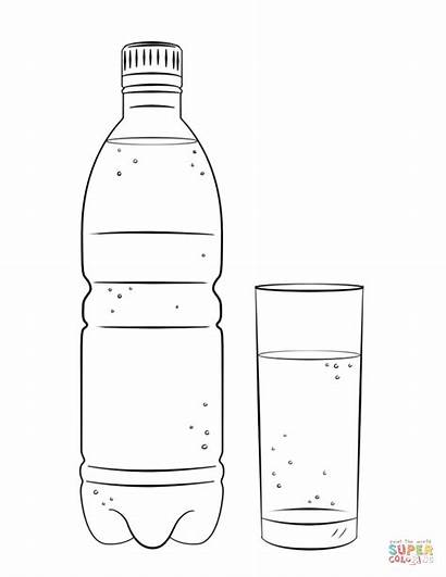 Coloring Bottle Water Glass Pages Drinks Printable