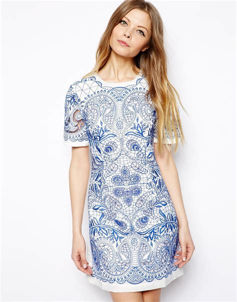 t shirt dresses lyst asos embroidered cutwork t shirt dress in blue