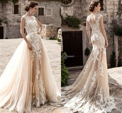 2017 Champagne Over Skirts Tulle Wedding Dresses A Line