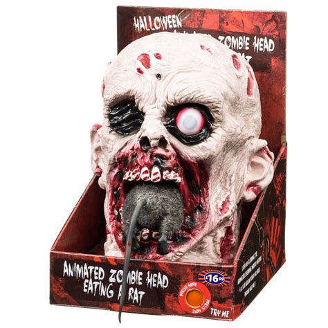 animated zombie head eating rat halloween decoration bm