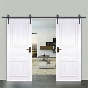 12FT Double Modern Style Sliding Barn Wood Door Closet