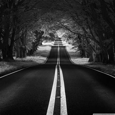 road landscape aesthetic black and white ultra hd