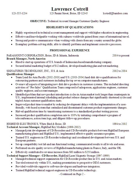 Maintenance Supervisor Resume Template Resume For A Technical Account Manager Susan Resumes