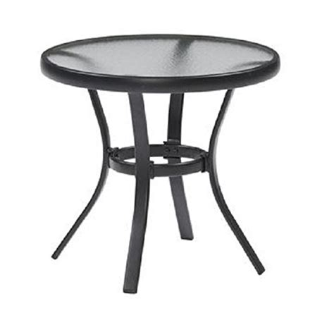outdoor side table black steel small tempered glass