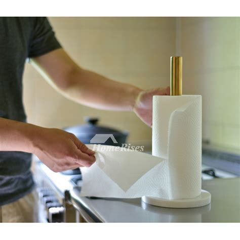 Kitchen Brass Marble Paper Towel Holder / Gold Tissue