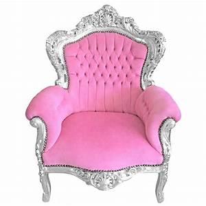 Fauteuil Velours Rose : grand fauteuil de style baroque velours rose et bois argent ~ Teatrodelosmanantiales.com Idées de Décoration