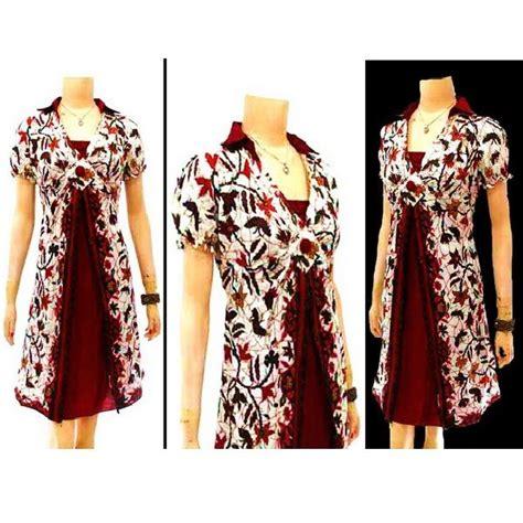 dress batik  model kerah kemeja lengan pendek kerut