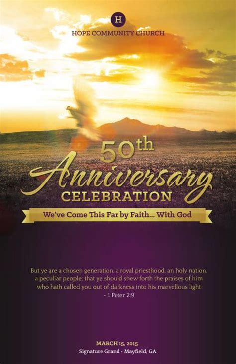 church anniversary service program template pastor