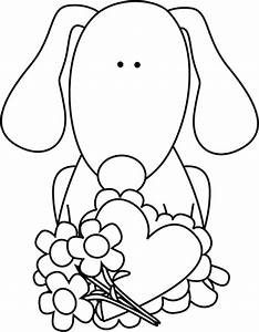 Black and White Valentine's Day Dog Clip Art - Black and ...