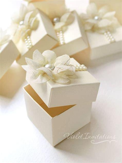 floral ivory favor boxes handmade wedding bombonieres