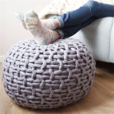 knitted pouffe ideas  pinterest knitted pouf