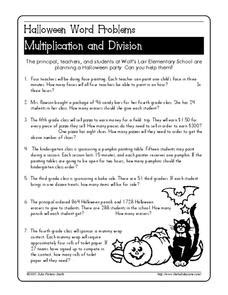 halloween word problems worksheet for 4th 5th grade