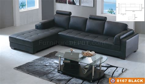 8167 sectional sofa black bonded leather by american eagle