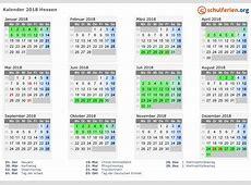 Kalender 2018 + Ferien Hessen, Feiertage