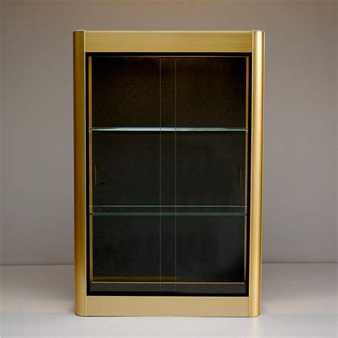 sliding door display cabinet gold wall display cabinet with sliding glass doors 1970s