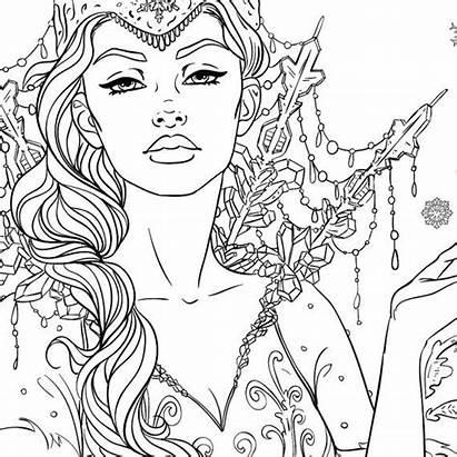 Coloring Adult Queen Snow Fantasy Line Elf