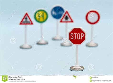 toy stop street signs royalty  stock image image