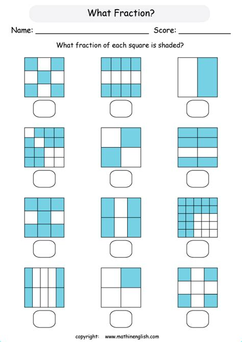 fraction printable grade  math worksheet