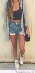 Black crop top, high waisted denim shorts, long grey ...