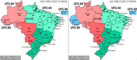 new brazil time zones map and old brazil time zones map