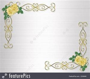 templates yellow roses wedding invitation border stock and With wedding invitation border design vector free download