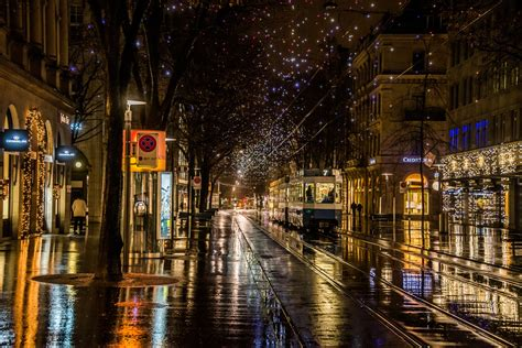nature rainy walk lights city city lights road rain