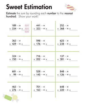 rounding sweet estimation worksheet education