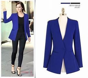 Royal Blue Zipper Shoulder Blazer from Street Style ...
