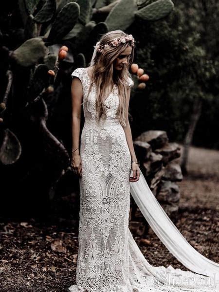 vintage lace rustic wedding dresses cap sleeve sheath boho