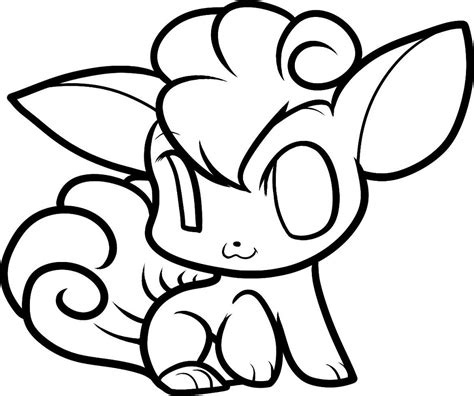 chibi vulpix pokemon coloring page  printable coloring pages  kids