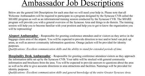Ambassador Resume by Brand Ambassador Resume Sle Sle Resumes