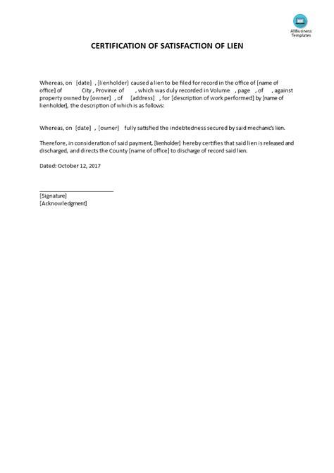 certificate  satisfaction  lien templates