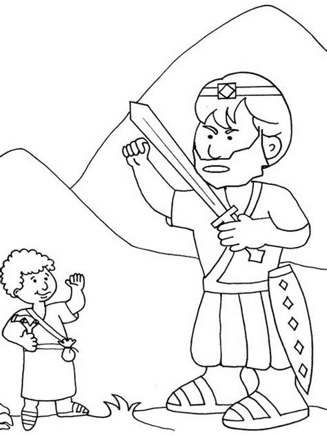 draw david  goliath   bible heroes story