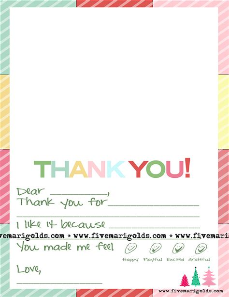 Thank You Note Template Thank You Note Template For Five Marigolds