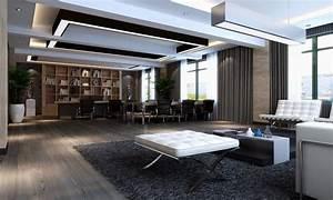 Bookcase wallpaper designs, modern ceo office interior ...