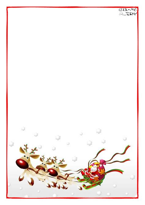 letter  santa claus blank paper template sleigh background