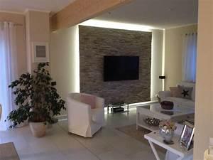 Wohnzimmer Tv Wand Ideen : unsere fertige tv wand mit beleuchtung wohnzimmer ideen ~ A.2002-acura-tl-radio.info Haus und Dekorationen