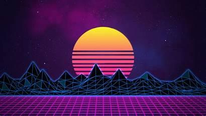 Neon Vaporwave Sci Fi Retro Sunrise Grid