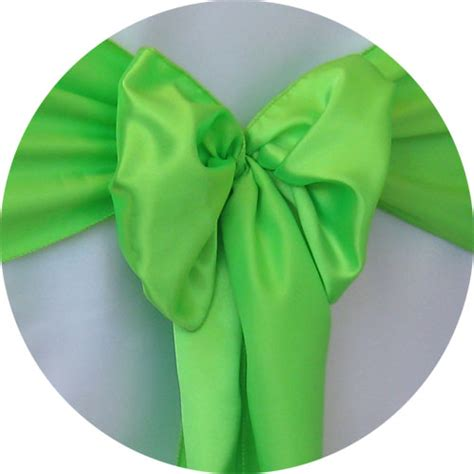 satin sash lime green chair cover rentals
